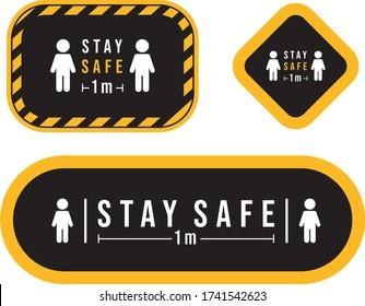 stay safe signage icon sticker