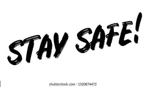 stay safe stamp on white background. Sign, label, sticker.
