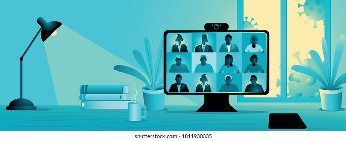Stay and work from home during pandemic, video conference vector illustration. Computer screen, group of people talking via internet