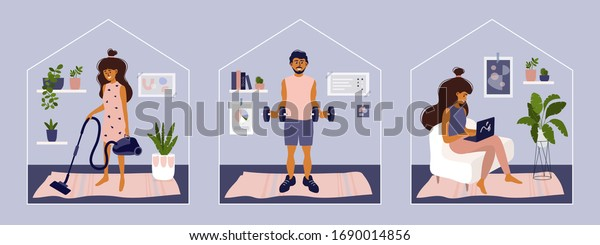 Stay or work from home. Girl doing housework, working on laptop. Man does exercise. Gym, sport, fitness training at home. Stay positive and healthy. Isolation, coronavirus quarantine. Illustration set