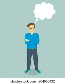 Staying dreaming man with thought bubble. Vector illustration