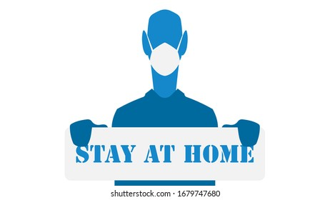 Staying at home, self-isolation, quarantine, doctor with mask holding warning board