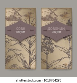 Ste of two vintage labels with Sorghum bicolor and Corn aka Maize or Zea mays sketch and field landscape. Cereal plants collection. Great for bakery, agriculture, farming design.