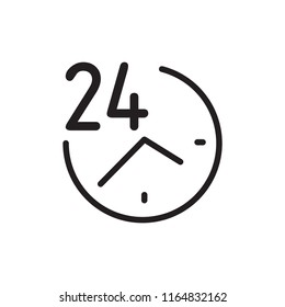 Steady Services 24/7 line flat vector icon for mobile application, button and website design. Illustration isolated on white background. EPS 10 web design, logo, app, infographic