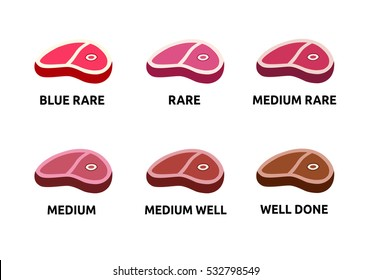 Steak doneness vector illustration flat. Eat meat vector icon.