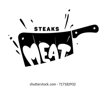Steak emblem. The knife cuts the meat