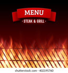 Steak and grill house menu. Vector background with close-up of BBQ roaster and realistic burning fire flames.