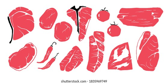 Steak. Hand drawn beef cuts, grunge doodle fillet and tomato, spicy pepper in red color. Sketch of Sirloin, Tri-Tip or T-Bone, Rib-Eye and Mignon, Flank or Top Blade. Vector Porterhouse set