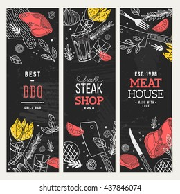 Steak house banner collection. Lineart graphic. Restaurant template. Vector illustration