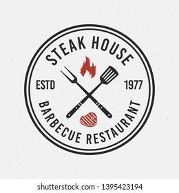 Steak house, barbecue logo. Circle, round logo of bbq. Vintage emblem for restaurant, barbecue. Trendy simple design. Vector illustration