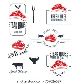 Steak house or butchery - meat store labels and emblems