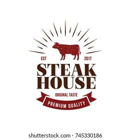 Steak House Logo. Cow Symbol Flat Isolated Graphic