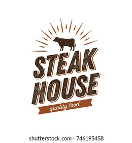 Steak House Logo with Cow Symbol Vintage Style Graphic Vector