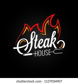 steak house logo with fire on black background