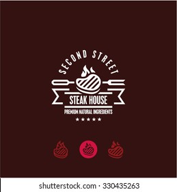 steak house logo, steak icon, bbq, grill menu