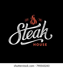 Steak house logo. Vintage Design. Handmade lettering. Vector illustration