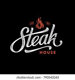 Steak house logo. Vintage Design. Handmade lettering. Vector illustration