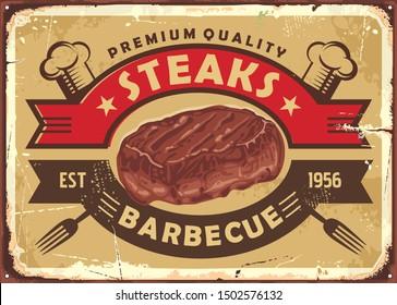 Steak house old sign design with tasty beef meat and vintage emblem on golden background. Retro poster template for diner or restaurant. Food vector illustration.