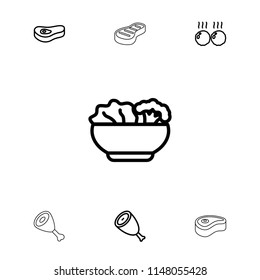 Steak icon. collection of 7 steak outline icons such as beef, food. editable steak icons for web and mobile.