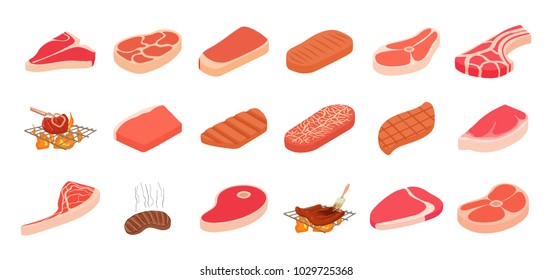 Steak icon set. Cartoon set of steak vector icons for web design isolated on white background