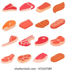 Steak icons set in cartoon style. Meat set collection. Meal shop or beef portions vector illustration