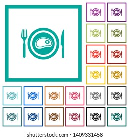 Steak for lunch flat color icons with quadrant frames on white background