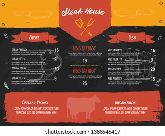 Steak menu design. BBQ grill poster with sketch icons. Barbecue cafe design on chalkboard