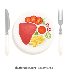 Steak on a plate isolated on a white background top view. Steak and chips with a vegetable side dish and sauce. Served grilled dinner. Vector illustration in cartoon style.