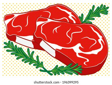 Steak in pop art style