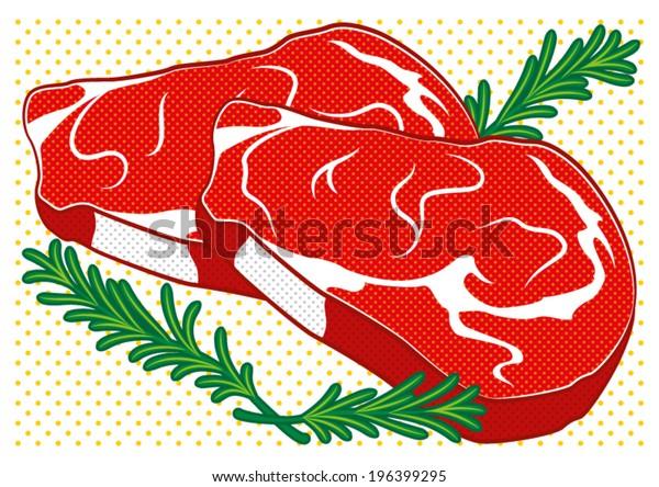 Steak in pop art style