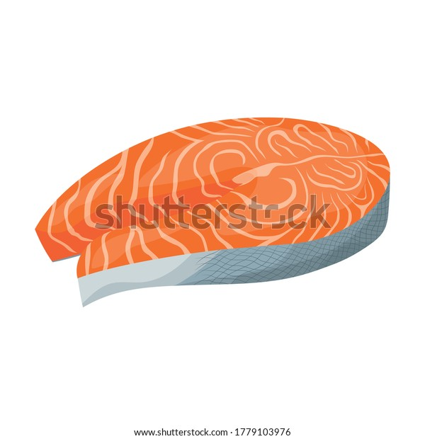 steak of red fish salmon isolated on white background, vector illustration, vegetarian food
