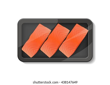 Steak of red fish salmon for sushi food menu in food container for package design Top View vector illustration.  Seafood realistic vector.
