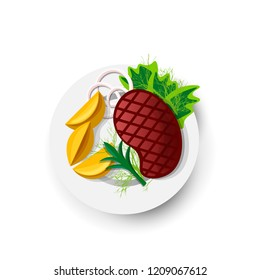 Steak Roast Beef Icon on White Field. Vector Illustration of Roast Beef in Cartoon Style. Juicy Steak With Vegetables on Plate. Concept of Traditional Dish of Meat. Isolated Icon of Grilled Food.