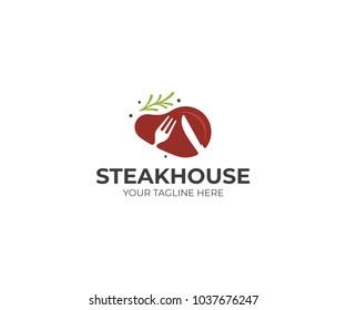 Steak with rosemary logo template. Steakhouse vector design. Beefsteak illustration