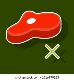 Steak sticker icon isolated on background. Steak on the bone. Steak closeup