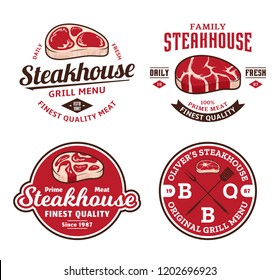 Steakhouse or meat store logo and labels. Vintage emblems for barbecue or grill bar, bistro, restaurant. Juicy beef steak icons.