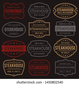 Steakhouse Premium Quality Stamp. Frames. Grunge Design. Icon Art Vector. Old Style Frames.