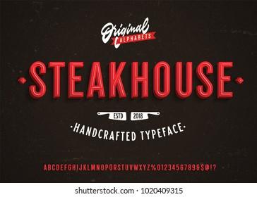 """Steakhouse"" Vintage 3d Premium Alphabet. Neon Sign Inspired Super Detailed Realistic Retro Typeace. Vector Illustration."