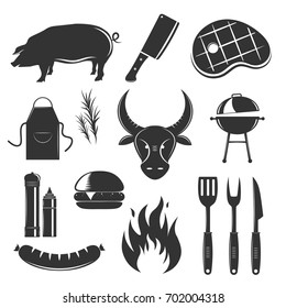 Steakhouse vintage elements collection with isolated silhouette monochrome images of meat products spices sauces and cutlery vector illustration