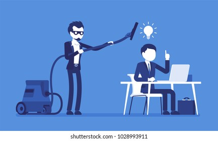 Stealing business ideas. Man in mask with vacuum cleaner sweeping with tube brains, thoughts of creative worker, using without permission or legal right. Vector illustration with faceless characters