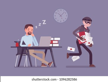 Stealing documents crime. Sleeping businessman unaware of felonious corporate paper taking, masked thief commits confidential protected data robbery in office. Vector flat style cartoon illustration