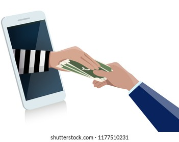 Stealing Money Online from business man Internet scammers online money transactions concept ,vector