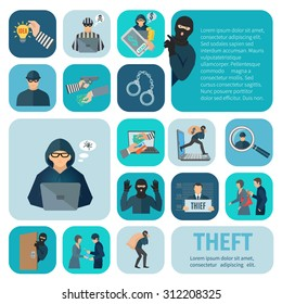 Stealing and theft icons set with robbery and pickpocket flat isolated vector illustration
