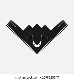 Stealth Bomber. Bomber Aircraft Jet. Black  stealth fighter, Spirit. Logo For u Web Site, Brand and App. Vector illustration Logotype