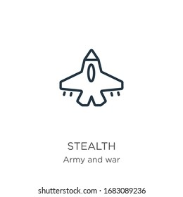 Stealth icon. Thin linear stealth outline icon isolated on white background from army and war collection. Line vector sign, symbol for web and mobile