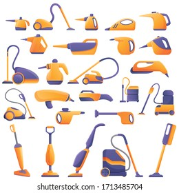 Steam cleaner icons set. Cartoon set of steam cleaner vector icons for web design