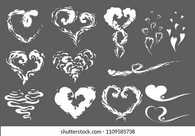 Steam cloud heart set. Cartoon smoke vector Illustration. Fog, mist, puff, dust flat isolated clipart for design, effect and romantic ads poster. 2D vfx elements for or wedding greeting card or menu