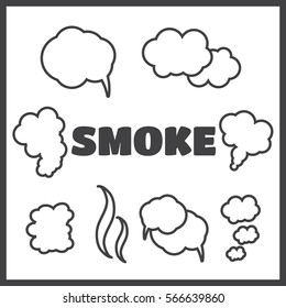 Steam, cloud and smoke vector icons set. Cloud abstract shape, flow smoke cloud