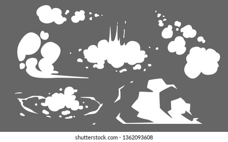 Steam clouds collection. Cartoon white smoke vector Illustration. Fog, dust or haze flat isolated clipart set for design element, effects, promo, print, banner template, flyer and advertising posters