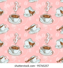 Steam coffee cups seamless pattern on a circle background